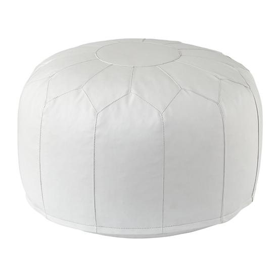 Faux Leather Pouf White