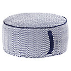 Large Blue Herringbone Pouf