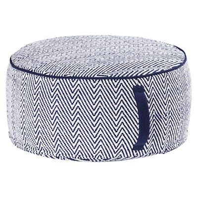 Blue Large Herringbone Pouf