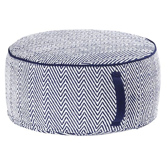 Kids One Seaters Grey Herringbone Pouf The Land Of Nod