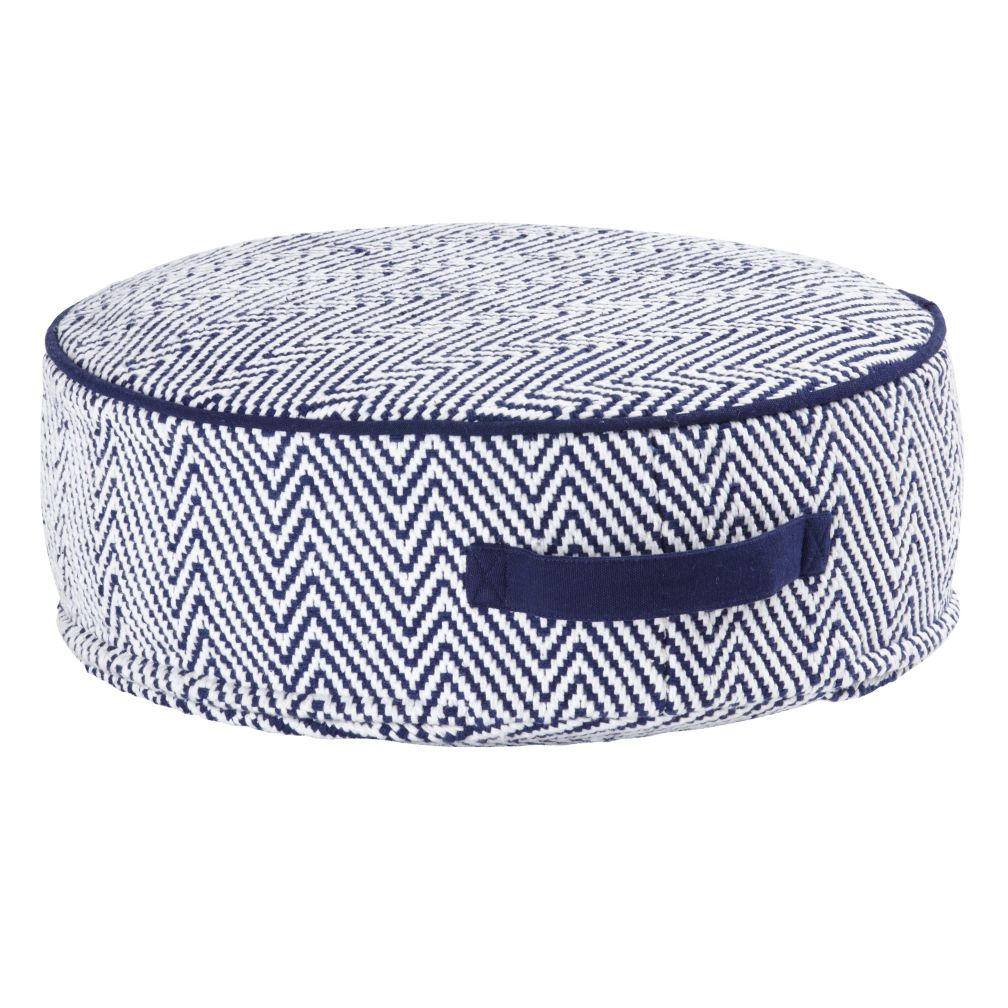 Blue Small Herringbone Pouf