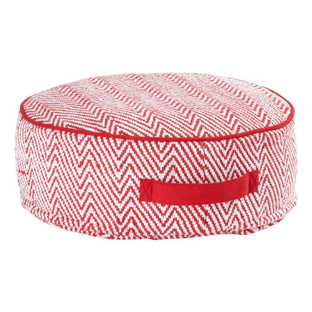 Small Red Herringbone Pouf