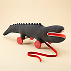 Grey Felt Crocodile Pull Toy