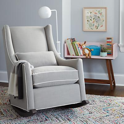 Quincy Rocking Chair & Ottoman (Devote Pewter)
