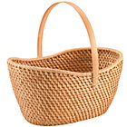 Honey Rattan Traditional Basket w/ Handle