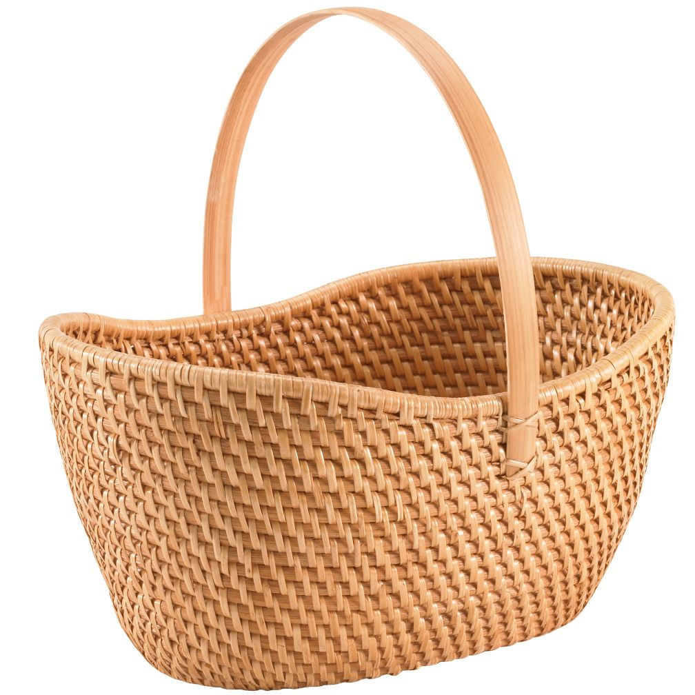 Rattan Basket with Handle (Honey)