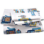 Full Robot Sheet SetIncludes fitted sheet, flat sheet and two pillowcases