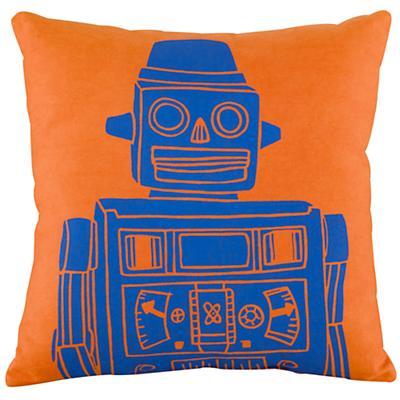Robot Throw Pillow (Orange)