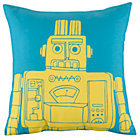 Teal Robot Pillow