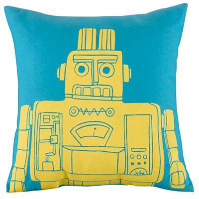 Robot Throw Pillow (Teal)