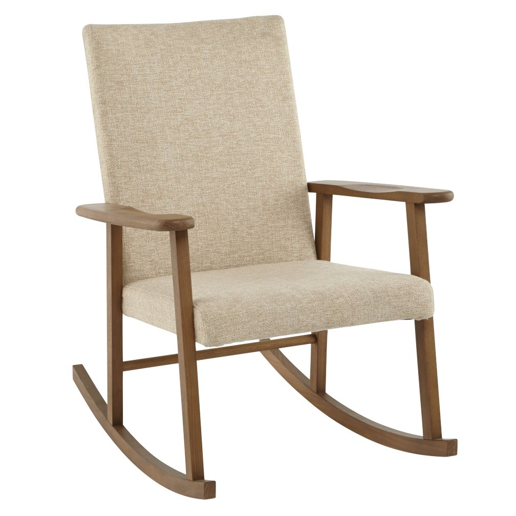 Mid-Century Upholstered Rocking Chair