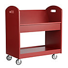 Tomato Red Rolling Book Cart