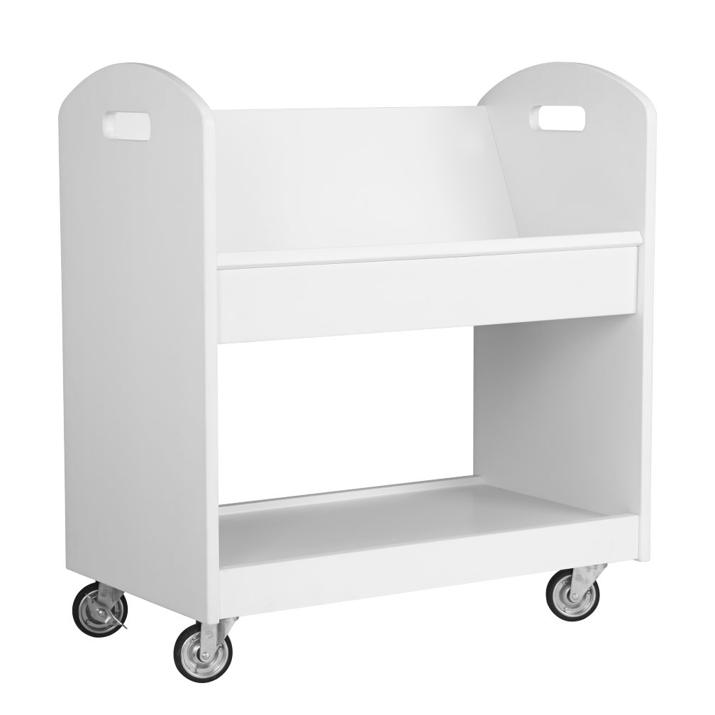 White Rolling Book Cart