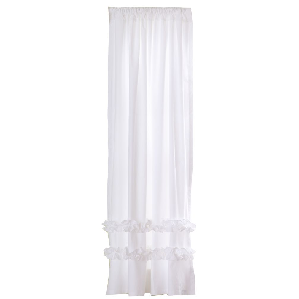 "84"" Ruffle Curtain Panel (White)"