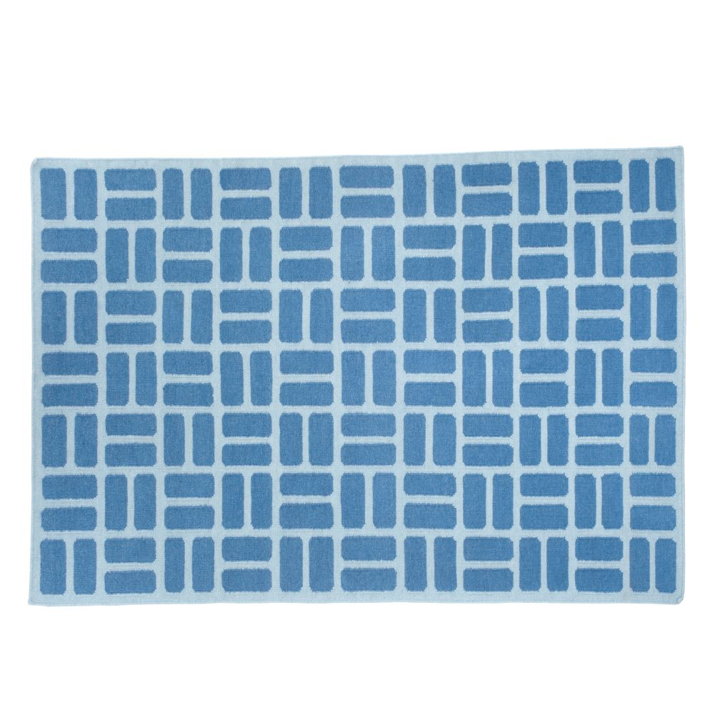 5 x 8&#39; Blue Brick by Brick Rug (Blue)