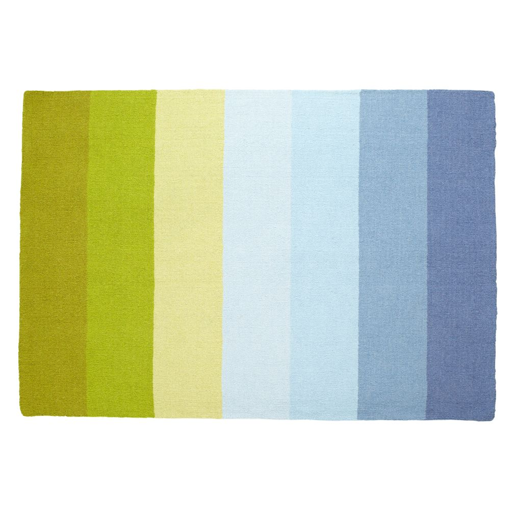 5 x 8&#39; Broad Stripe Rug (Blue-Green)