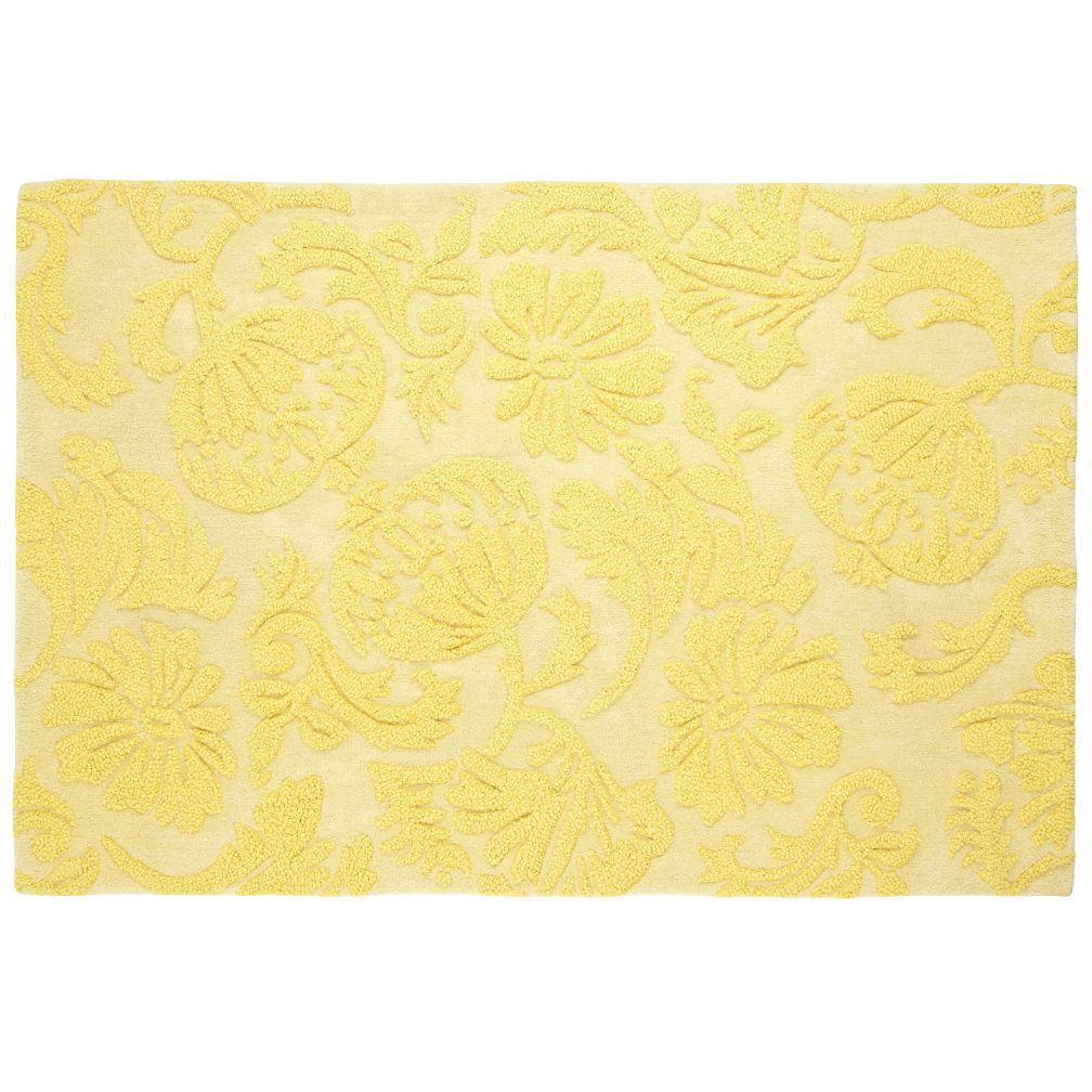 4 x 6' Raised Floral Rug (Yellow)