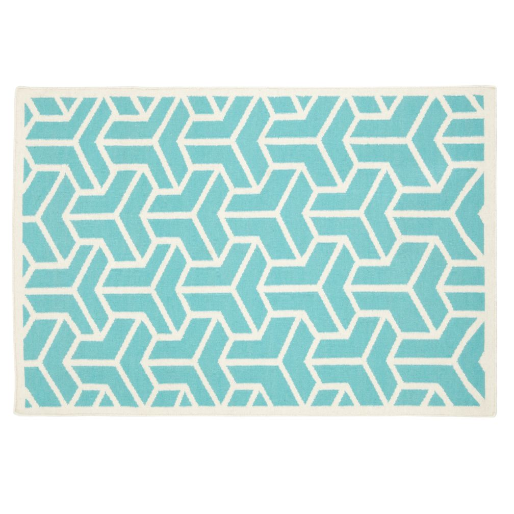4 x 6&#39; Crow&#39;s Feet Rug (Aqua)
