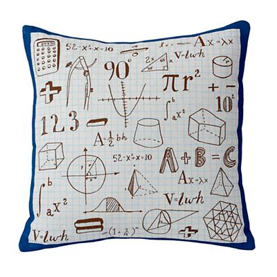 A+B+C Throw Pillow (Grey/Blue)