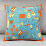 (a + b) + c = Throw Pillow (Blue/Orange)