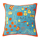 Blue/Orange A+B+C Throw Pillow