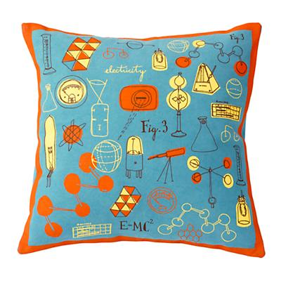 A+B+C Throw Pillow (Blue/Orange)