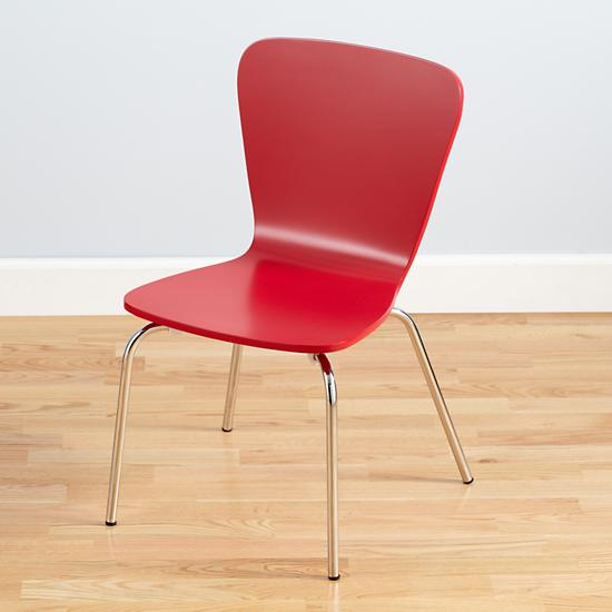 Kids' Desk Chairs: Kids Painted Red Chair with Metal Legs | The