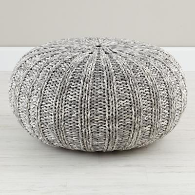 Varigated Grey Pouf