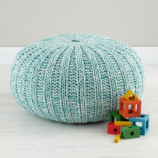 kids seating light blue variegated pouf seater the land of nod. Black Bedroom Furniture Sets. Home Design Ideas