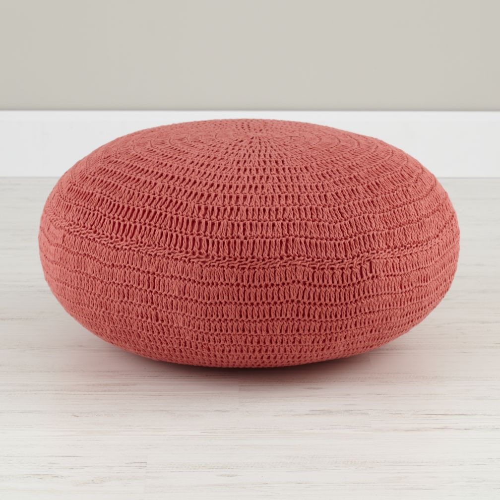 Pink Crocheted Pouf