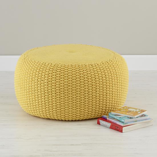 kids seating yellow knit braided pouf seater the land of nod. Black Bedroom Furniture Sets. Home Design Ideas