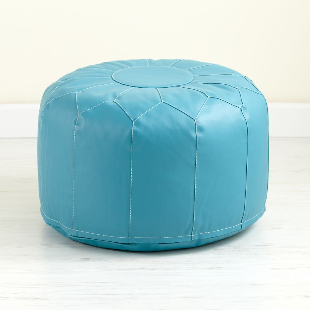 Aqua Faux Leather Pouf