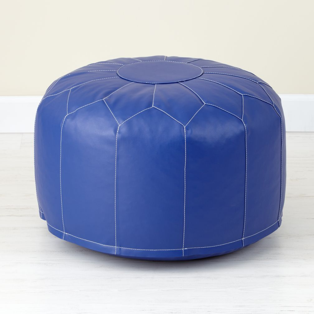 Faux Leather Pouf (Dk. Blue)