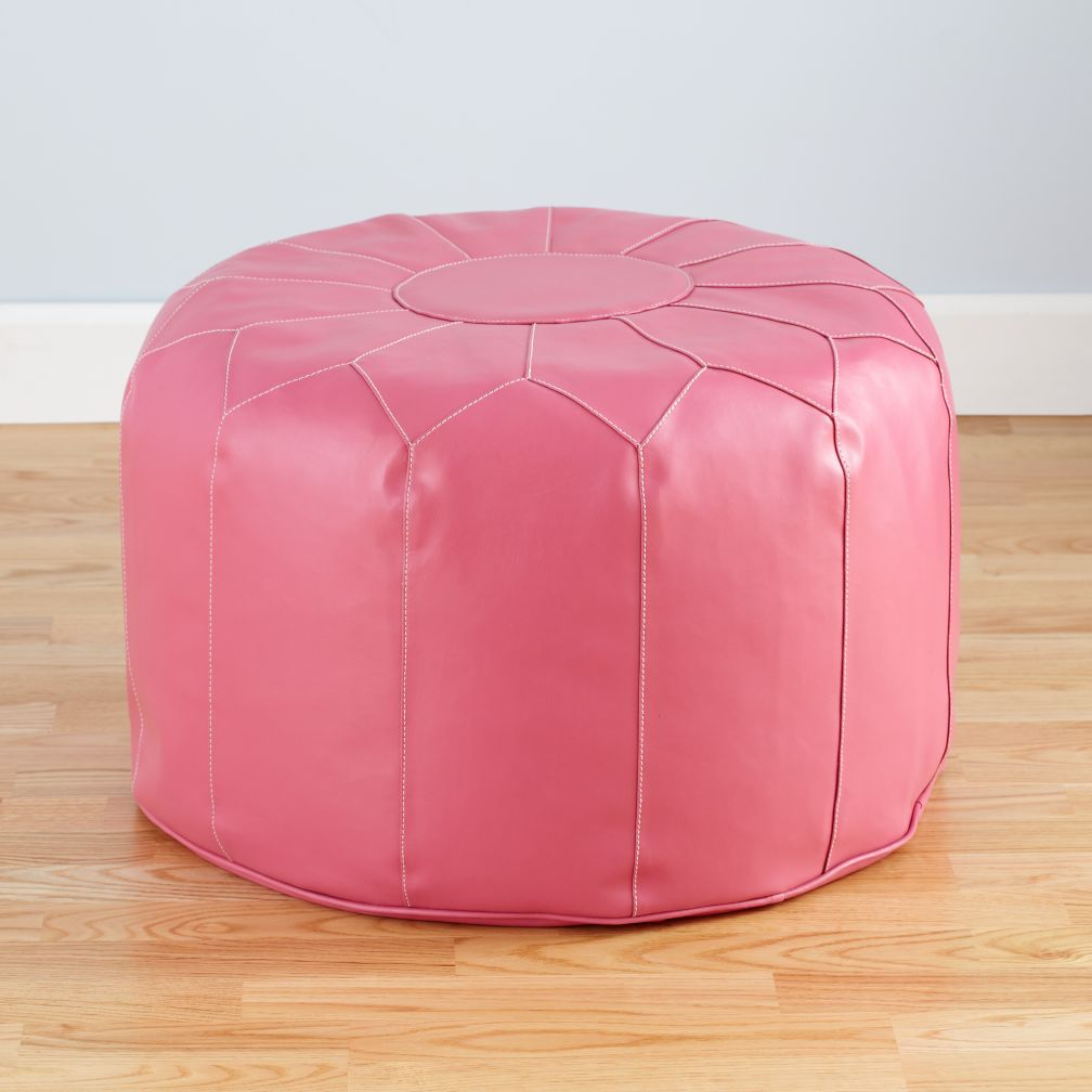 Pink Faux Leather Pouf