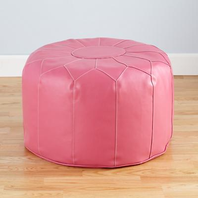 Faux Leather Pouf (Pink)