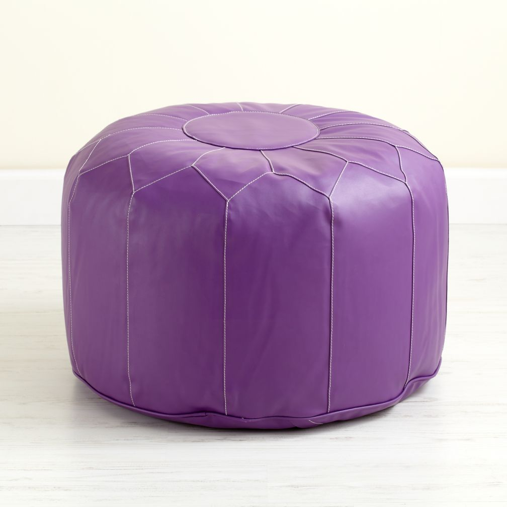 Purple Faux Leather Pouf