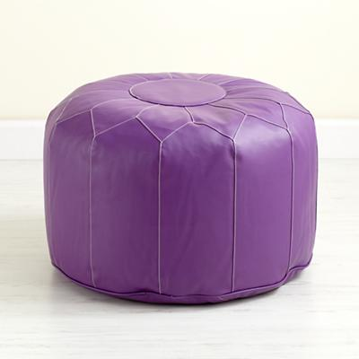 Faux Leather Pouf (Purple)