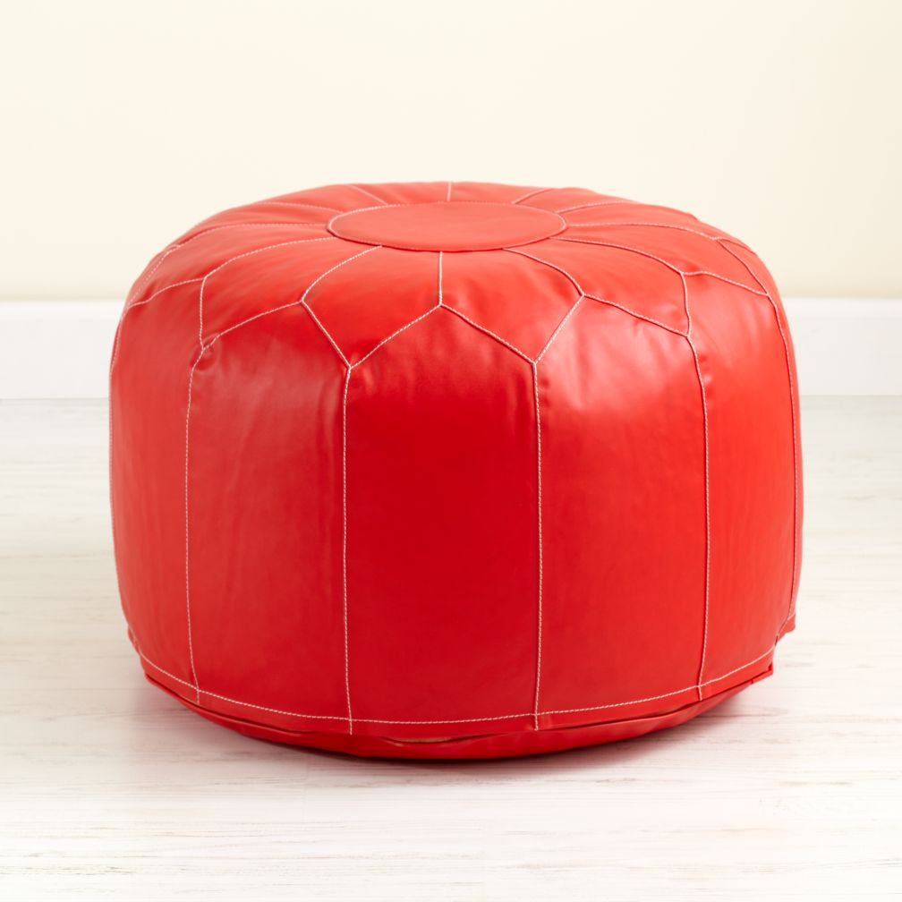 Red Faux Leather Pouf