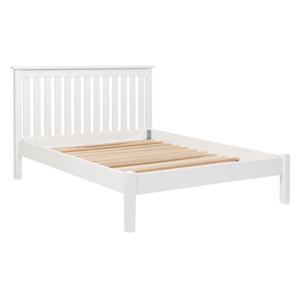 Simple White Full Bed (Headboard w/Wood Frame)