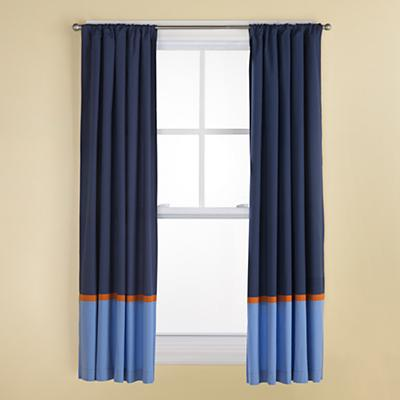 Kids Curtains: Kids Navy and Light Blue Curtains with Orange Trim ...