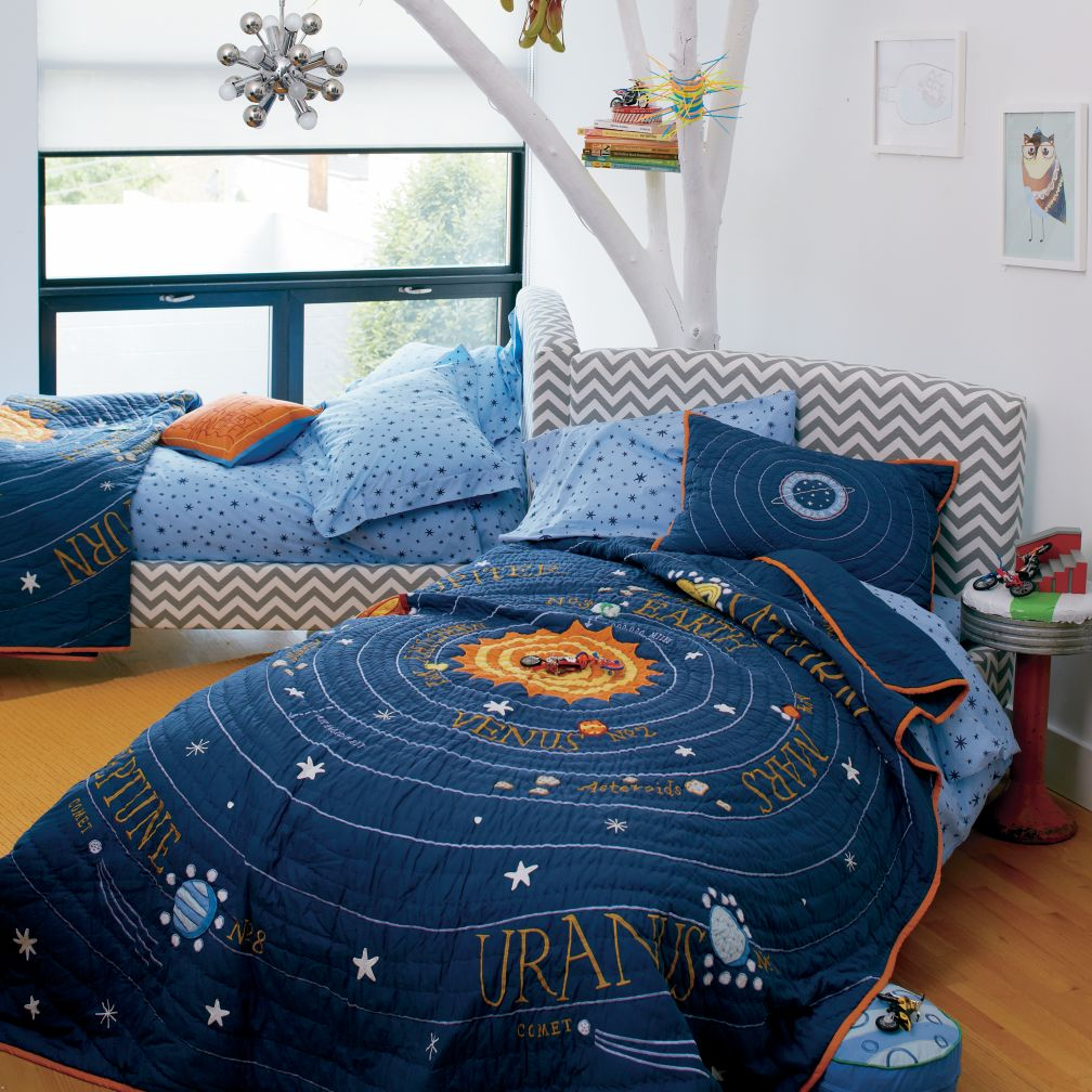 Perfect Kids Bedding: Kids Blue Solar System Bedding   Twin Solar System Quilt