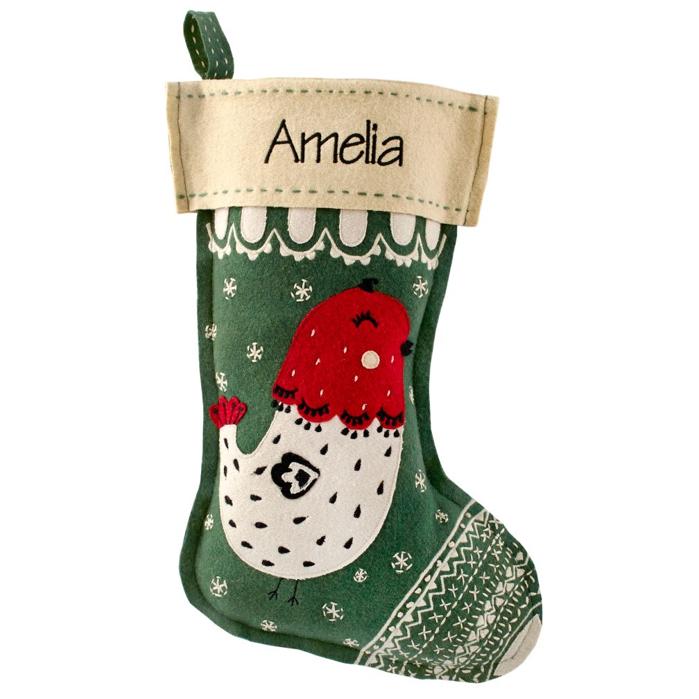 Holly Jolly Personalized Stocking (Bird)
