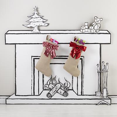 Sequin Bow Stocking (Pink)
