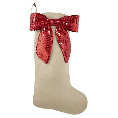Red Sequin Bow Stocking