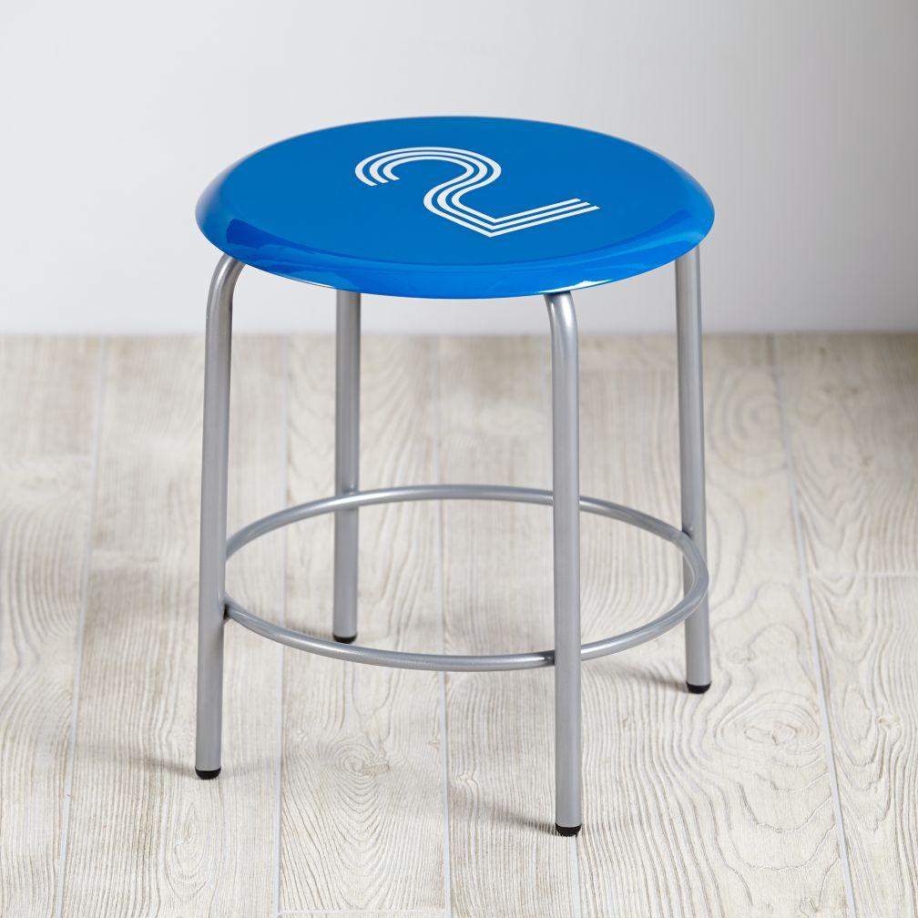Numeral Metal Stool (Blue)