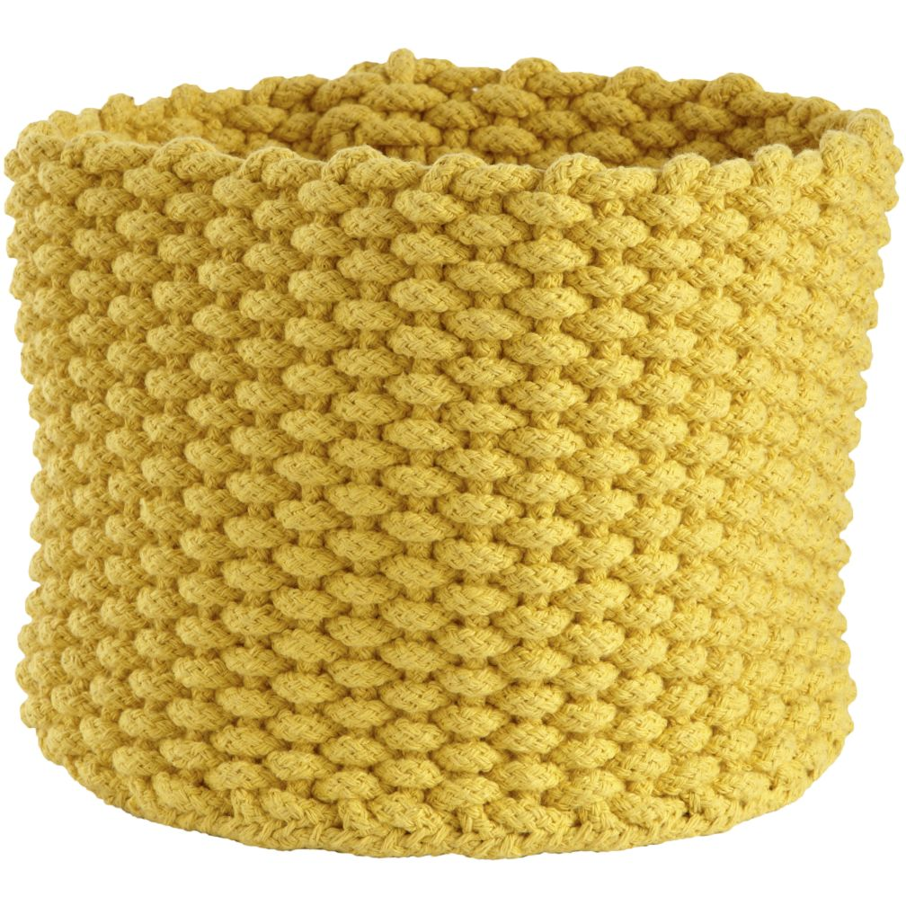 Small Yellow Kneatly Knit Rope Bin <br />