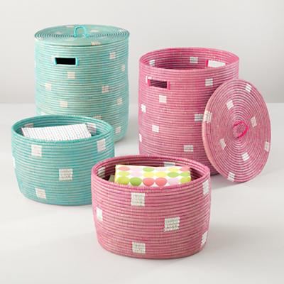 Charming Baskets (Pink Dots)