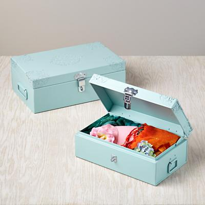 Doily Storage Boxes (Aqua, Set of 2)