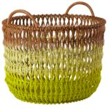 Fade Up Rattan Floor Basket (Yellow)