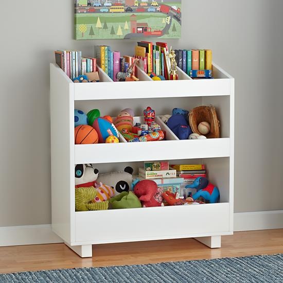 Toy storage solutions for White bookcase for kids room